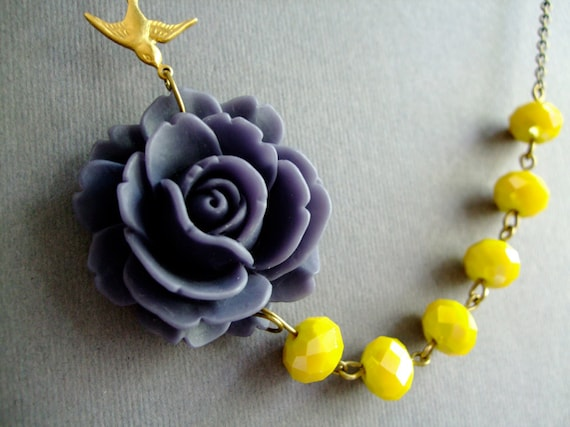 Flower Necklace,Grey Blue Flower Necklace,Yellow Crystal Necklace,Bridesmaid Jewelry,Nautical Jewelry,Vintage Style (Free matching earrings)