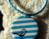 Blue and White Striped Circle Birdie Pendant Necklace with matching Earrings