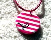 Pink and White Striped Circle Birdie Pendant Necklace with matching Earrings