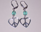 Peace and Love Heart Earrings  with Aqua Blue Glass Beads