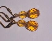 Honey Czech Glass Dangle Earrings on Gold Leverbacks- PIF