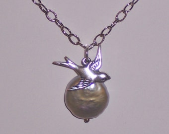 Flying Sparrow Bird Necklace and White Coin Pearl -  Sterling Silver Chain SUPER SALE