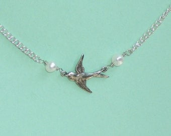 SALE Lonely Silver Sparrow Bird Necklace and White Pearls