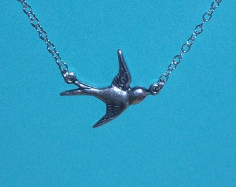 Lonely Silver Sparrow Bird Necklace on Sterling Silver Chain