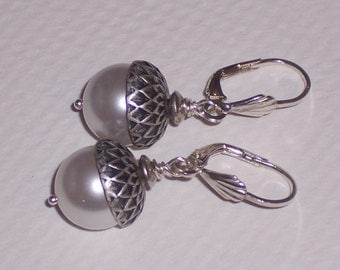 White Pearl Acorn Earrings on Sterling Silver Lever backs FREE SHIPPING to the USA