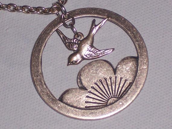 Sparrow Bird and Lotus Necklace Antiqued Silver