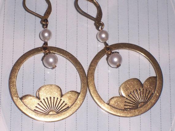 Lotus Blossom Flower Earrings with White Swarovski Pearls on Antiqued Brass Lever Backs