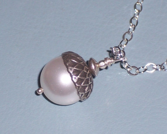 White Pearl Acorn Pendant on Sterling Silver Chain FREE USA Shipping