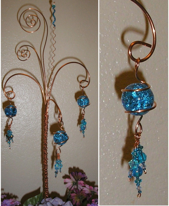 Copper Wire Glass and Beads Garden Yard Art Plant Stake