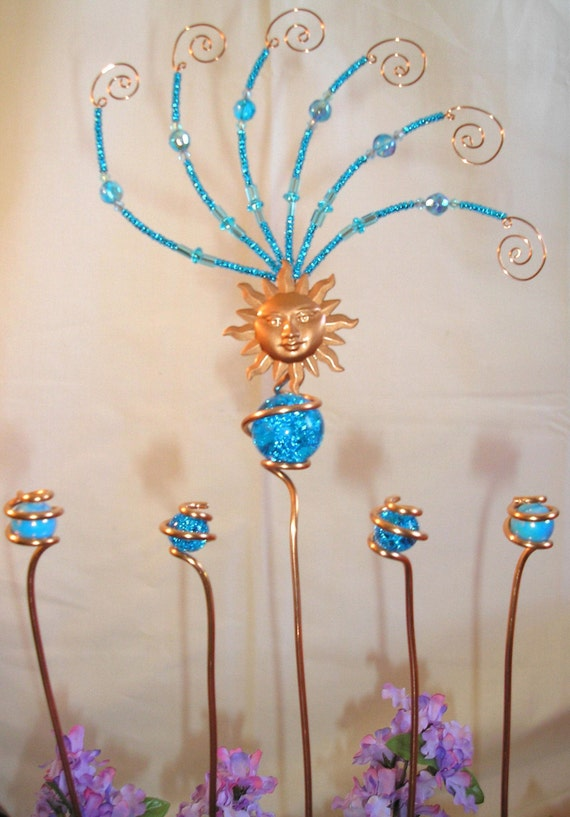 Copper, Glass and Beads Sun Burst Yard Art Garden Stake