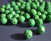 Faceted Fire-Polished Czech Glass Beads - Green