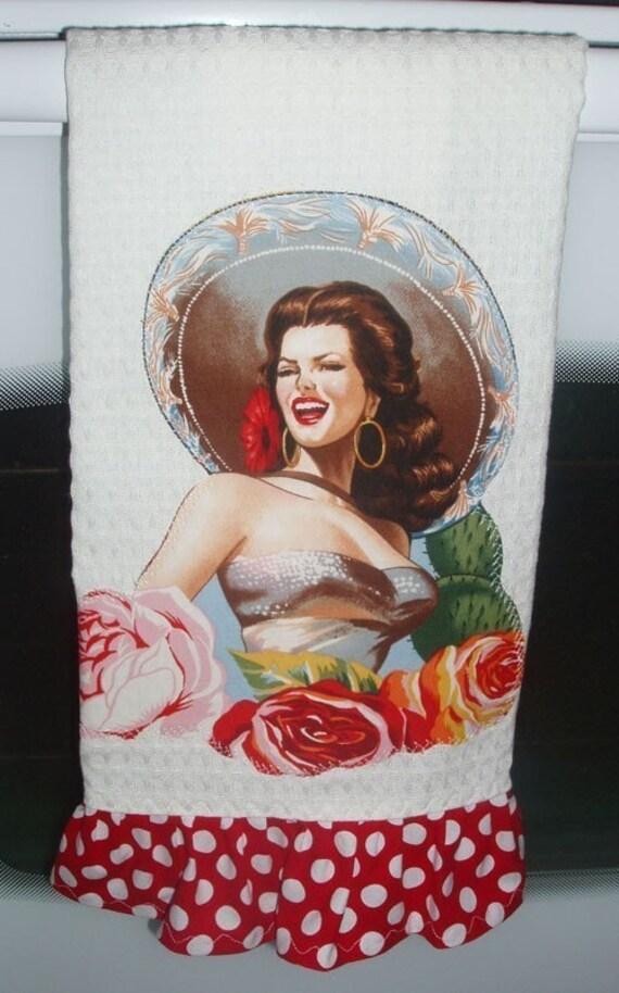 Las SENORITAS Ruffled Kitchen Towels SET of THREE  CUSTOM