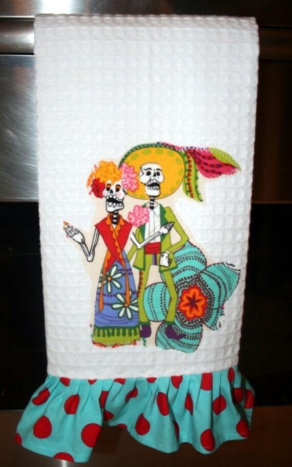Dia de los MUERTOS Aqua and Red Polka Dotted Kitchen Towel CUSTOM