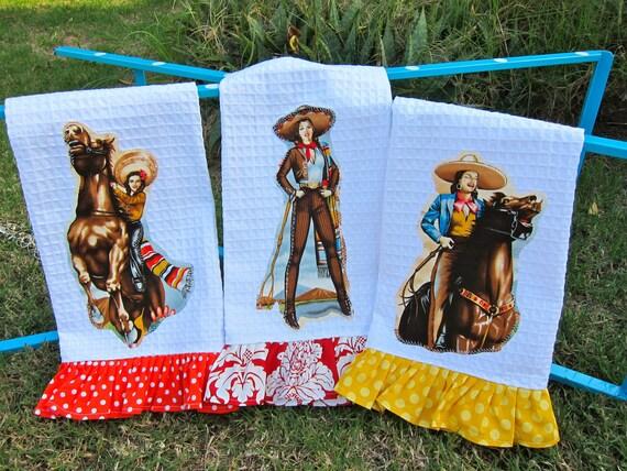 Las CHARRAS Cowgirls Kitchen TOWELS Set of Three Custom