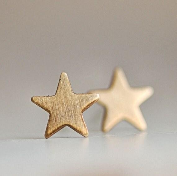 Twinkle Brass Star Earrings With Sterling Silver Posts. Gold Star Earring. Star Studs. Star Post Earrings.