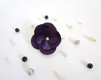 Eggplant Dark Purple Flower Hair Pin