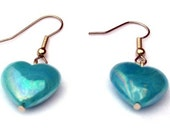 Simple Blue Heart Earrings RESERVED spacejourney
