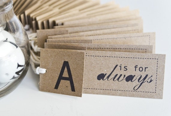 NEW beyond words folded alphabet tags- kraft