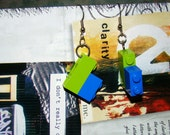Upcycled Lime Green and Blue Lego Earrings   ---   New Item