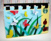 Reserved for:RighteousRecycling      Starbucks SPRING BUTTERFLY with added Lady Bugs  --  Upcycled Giftcard Notebook