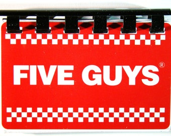 Five Guys (Hamburger) Giftcard Notebook ----  No Value on Card -- Novelty Purposes Only