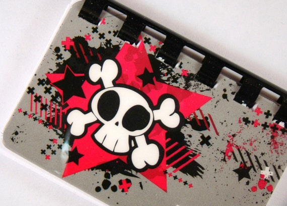 Skull and Crossbone --  Recycled Giftcard Notebook --    no value on card