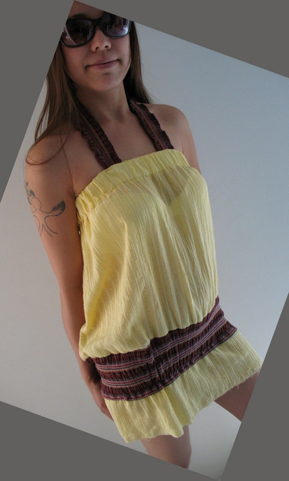 Sheer Cover-up Mini Sun Dress or Top...Nice combo in Yellow n mauves-browns, what a dress...ooops cover-up