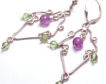 Amethyst and Peridot Chandelier Earrings-Artisan Crafted-OOAK-One Of  A Kind