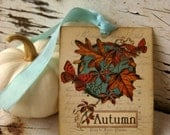 Fall Autumn Paper Tags Butterfly Leaf Aqua Vintage Style