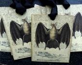 Vampire Bat Skeleton Tag Halloween Goth Apothecary  Vintage