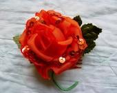 SALE Summer Orange Millinery Rose