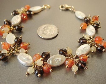 White Pearl Bracelet, Orange Carnelian Bracelet, Smoky Quartz Beads, White Coin Pearls, Gold Bracelet