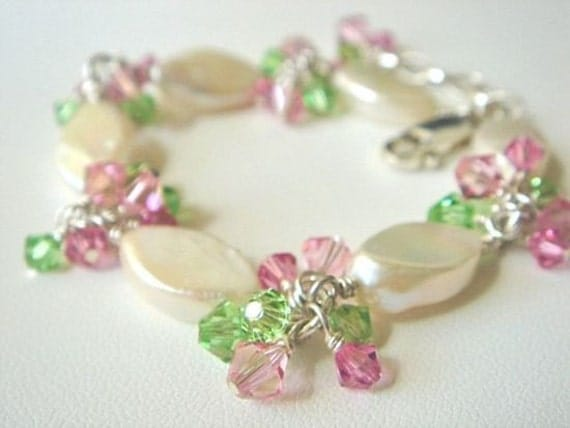 Pink Green Beaded Bracelet with Swarovski Crystals and White Freshwater Pearls Pearl Bracelet