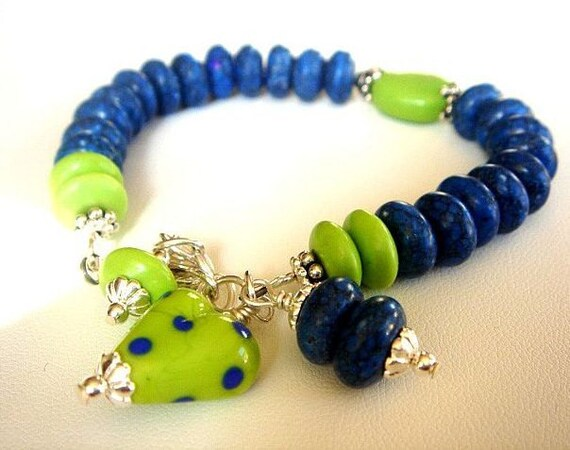 Blue Lampwork Bracelet with Howlite, Green Turquoise and Sterling Silver