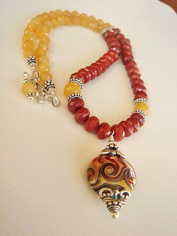 Red Yellow Lampwork Necklace with Red Jasper, Yellow Jasper and Sterling Silver