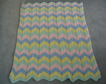 Hand Knit Baby Ripple Afghan