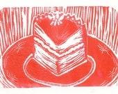 SALE -  Piece O Cake - lino print