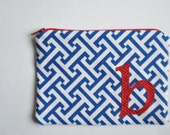 Anchors Away Zippered Pouch Personalized with YOUR Initial