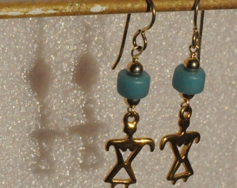 Petroglyph Earrings, Antique Blue Naga Glass Trade Beads Earrings (Gold)