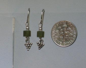 Green & Silver Grape Earrings