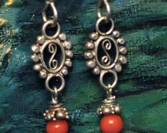Red Coral, Silver Flower Earrings