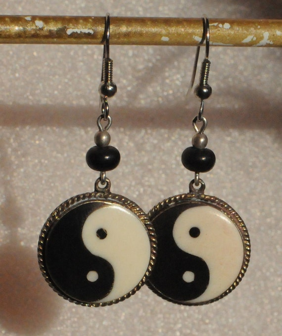 Yin Yang Earrings (Buffalo Horn & Bone)