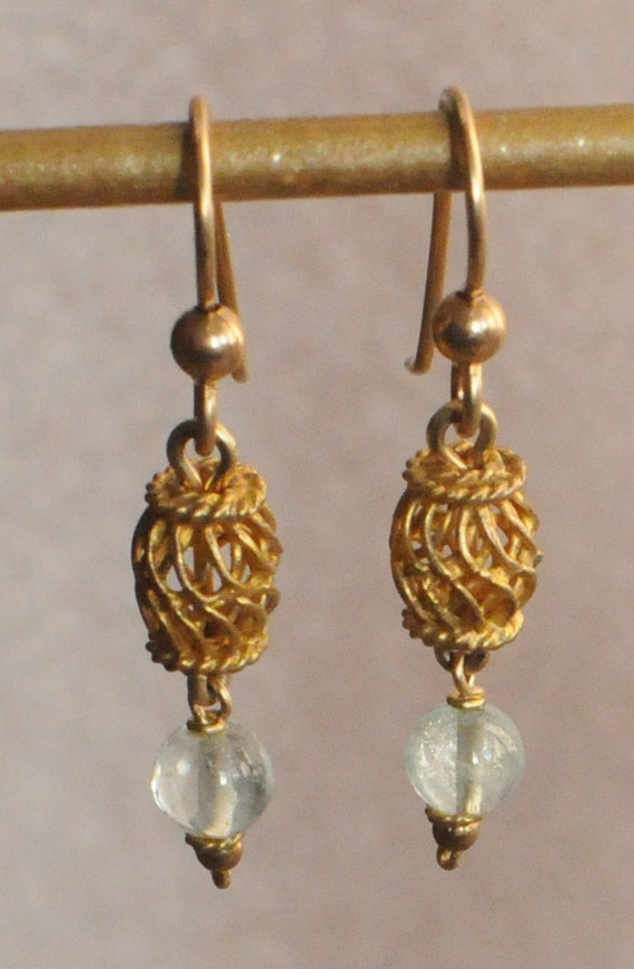 Aquamarine Earrings With Balinese Gold Electroplate Silver