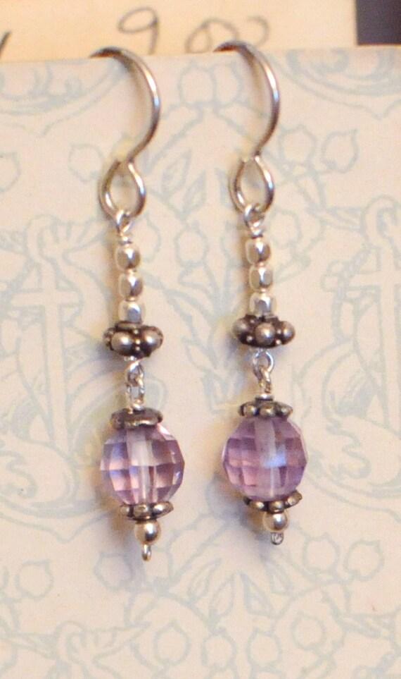 Purple Amethyst & Silver Earrings