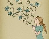 Wall decor Art print of illustration ink drawing - 'Blossom' (blue)