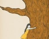 Giclee art print poster decor nursery children tree hugger Illustration baby girl gift ink drawing - FINALLY SAFE