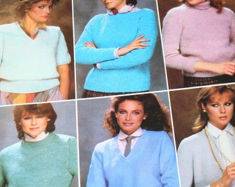Sweater Knitting Patterns Women Classic Medley Bernat 512 Cardigan Turtleneck Easy Quick Fast Vintage Paper Original NOT a PDF