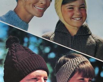 Hat Knitting Patterns Beehive Patons 118 Men Women Children Crochet Pattern Vintage Paper Original NOT a PDF