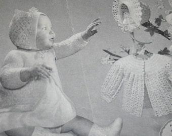 Knitting Patterns Crochet Baby Sets Beehive 65 Sweater Booties Bonnet Layette Socks Mittens Cardigan Paper Original NOT a PDF