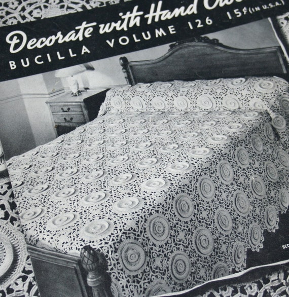 Crochet Patterns Home Bucilla 126 Bedspread Runner Doily Chair Set Tablecloth Blanket Vintage Paper Original NOT a PDF